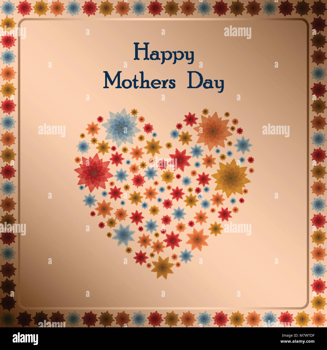 Mothers Day Vector Greeting Cards Postcard With A Big Heart Of
