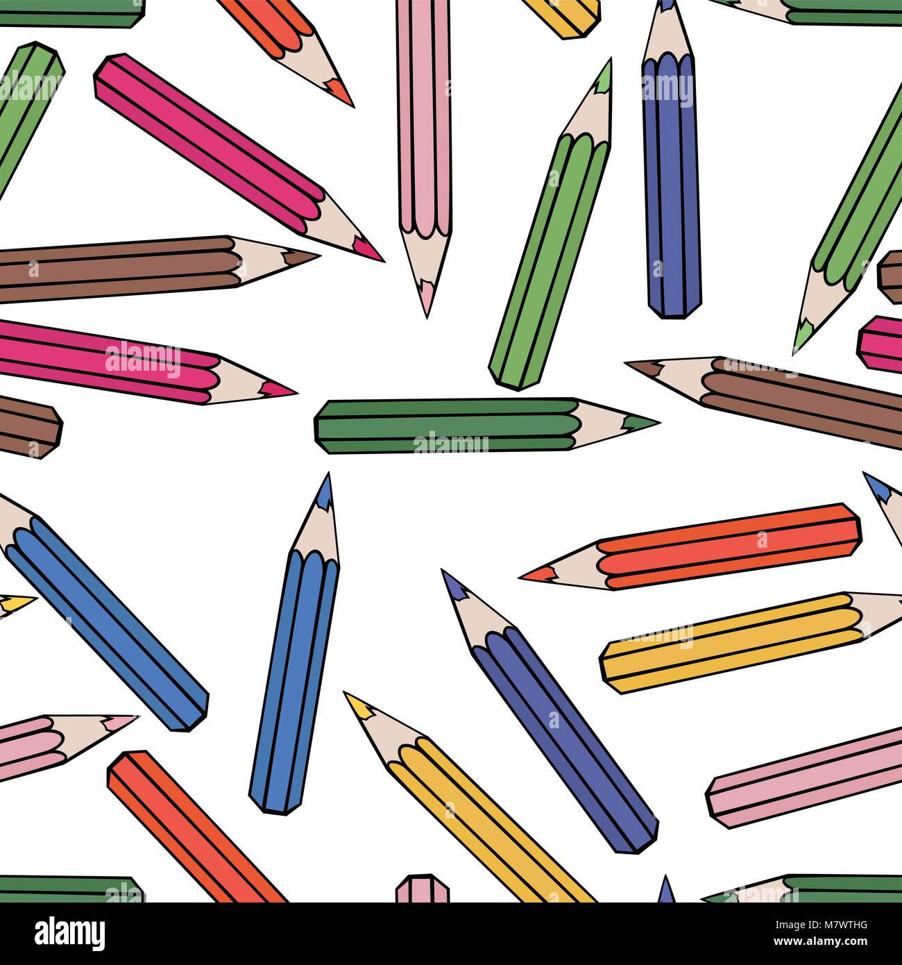 Seamless pattern background pencil. School design vector ...