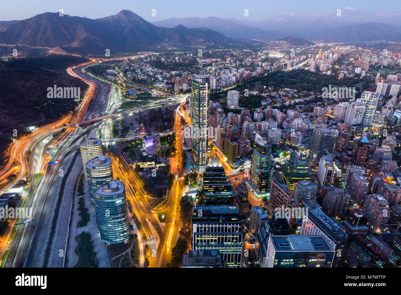 Panoramic View over east Santiago towards the Andes. From Sky Costanera. - Stock Image