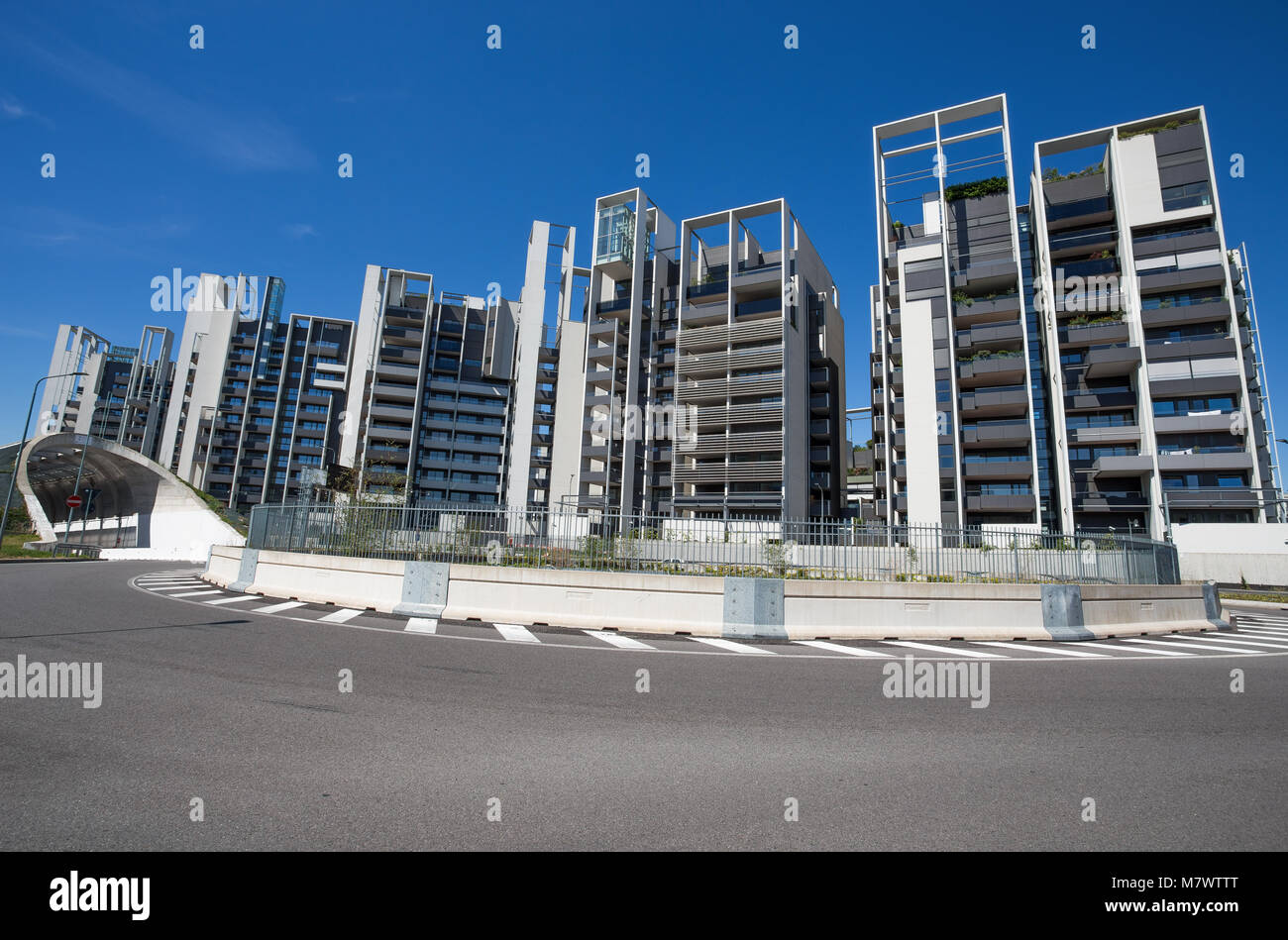 Modern buildings and offices in the new Portello area, near Milan Fiera, Milan city, Italy - Stock Image