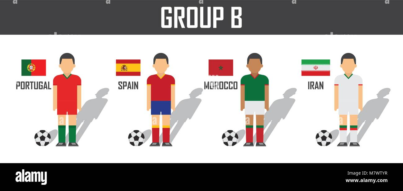 Soccer cup 2018 team group B . Football players with jersey uniform and  national flags . Vector for international world championship tournament . b14ba5a93
