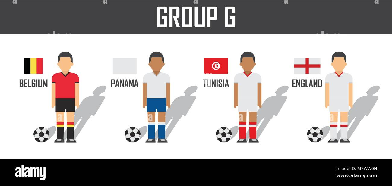 03cf479b4 Soccer cup 2018 team group G . Football players with jersey uniform and national  flags . Vector for international world championship tournament .