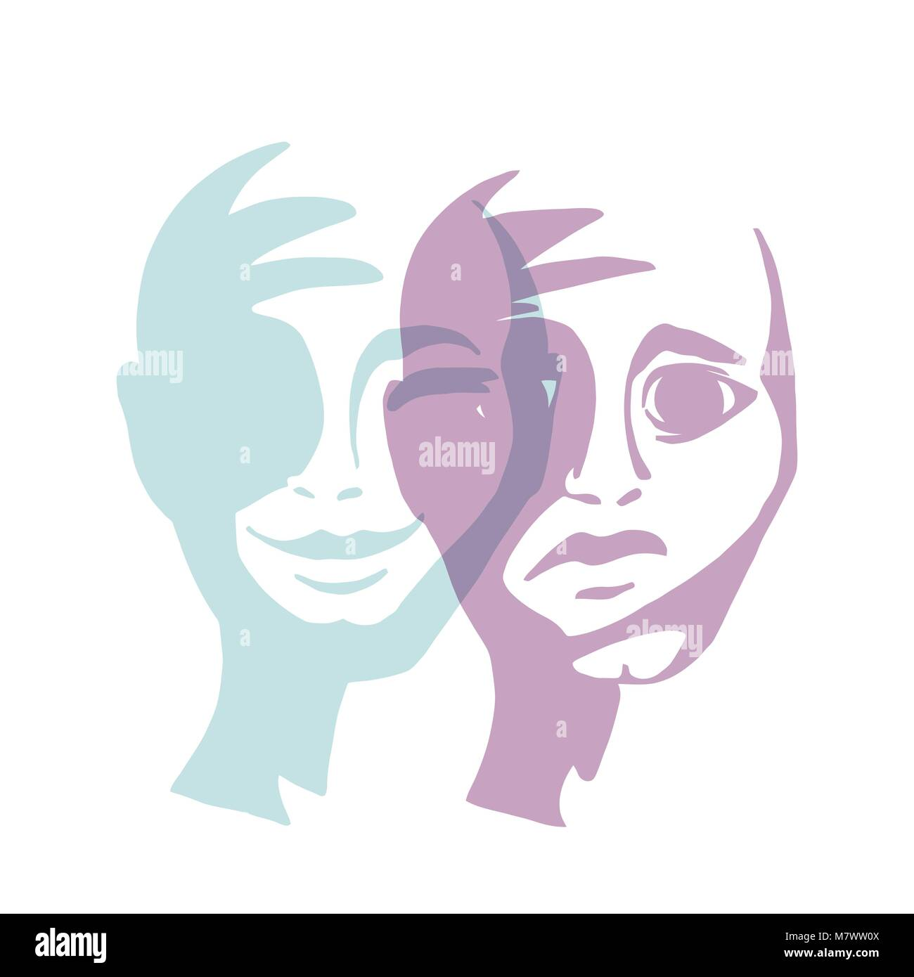 Multiple personality. Mask of a man vector illustration. Confrontation person. - Stock Image