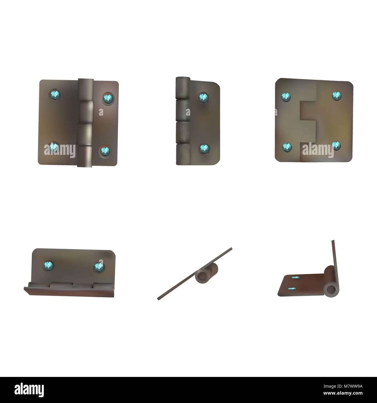 Hinge with blue diamonds for doors vector illustration. Set of brass or bronze industrial ironmongery. Mechanism - Stock Image