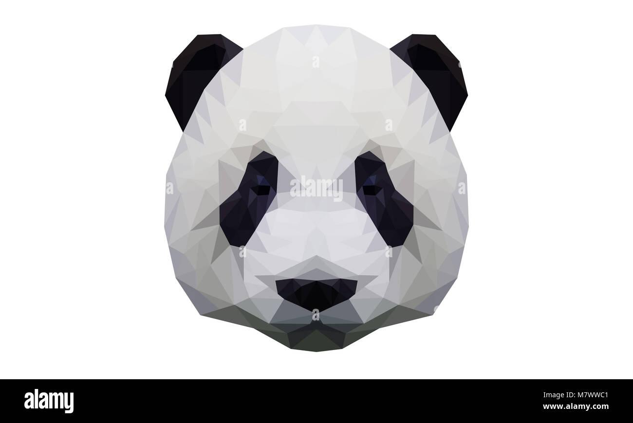 Low Poly Triangle Panda JPG 4000 x 2400 - Stock Image