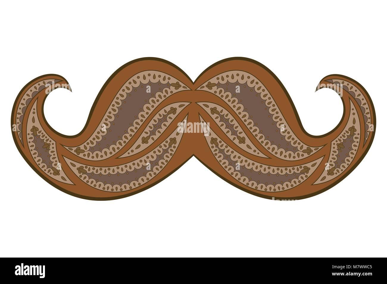 Zen tangle mustache vector illustration. Zentangle brown ...