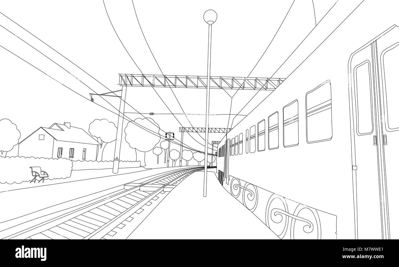 Coloring book the train on the platform. Vector illustration of railway in the village - Stock Vector