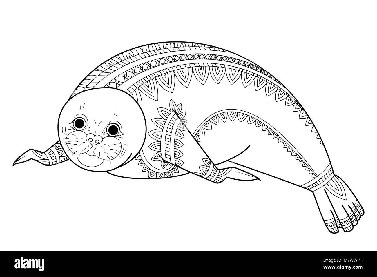Cute Seal Zentangle Vector Illustration Phoca Zen Tangle Wild Animals Of Antarctica Coloring Book For Adult