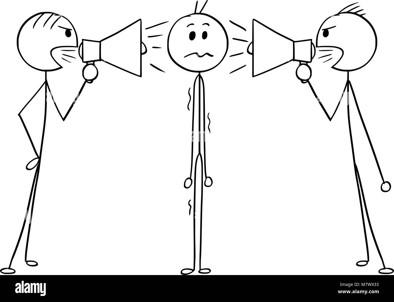 Cartoon of Man or Businessman Between Two Men With Loud Speakers - Stock Image