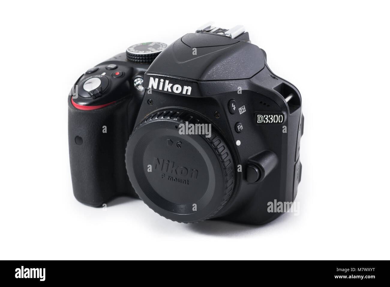 A Nikon D3300 digital APS-C SLR camera body on white seamless background - Stock Image