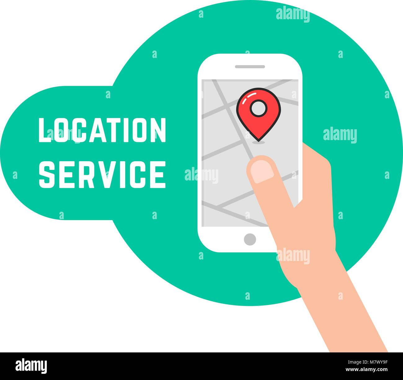 hand holding phone like location service - Stock Image