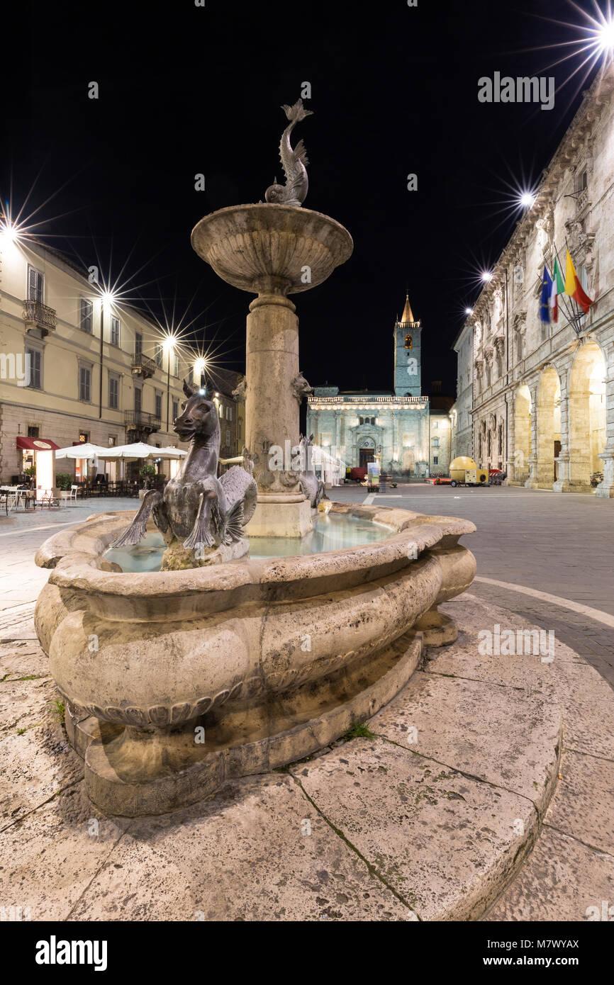 Piazza Arringo, Ascoli Piceno district, Marches, Italy - Stock Image