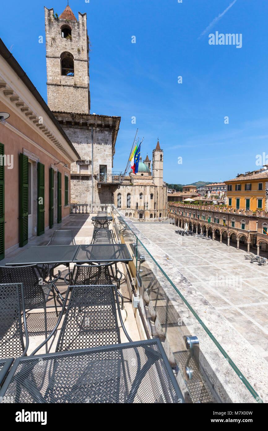 View of Piazza del Popolo from terrace of Meletti cafè, Ascoli Piceno district, Marches, Italy Stock Photo