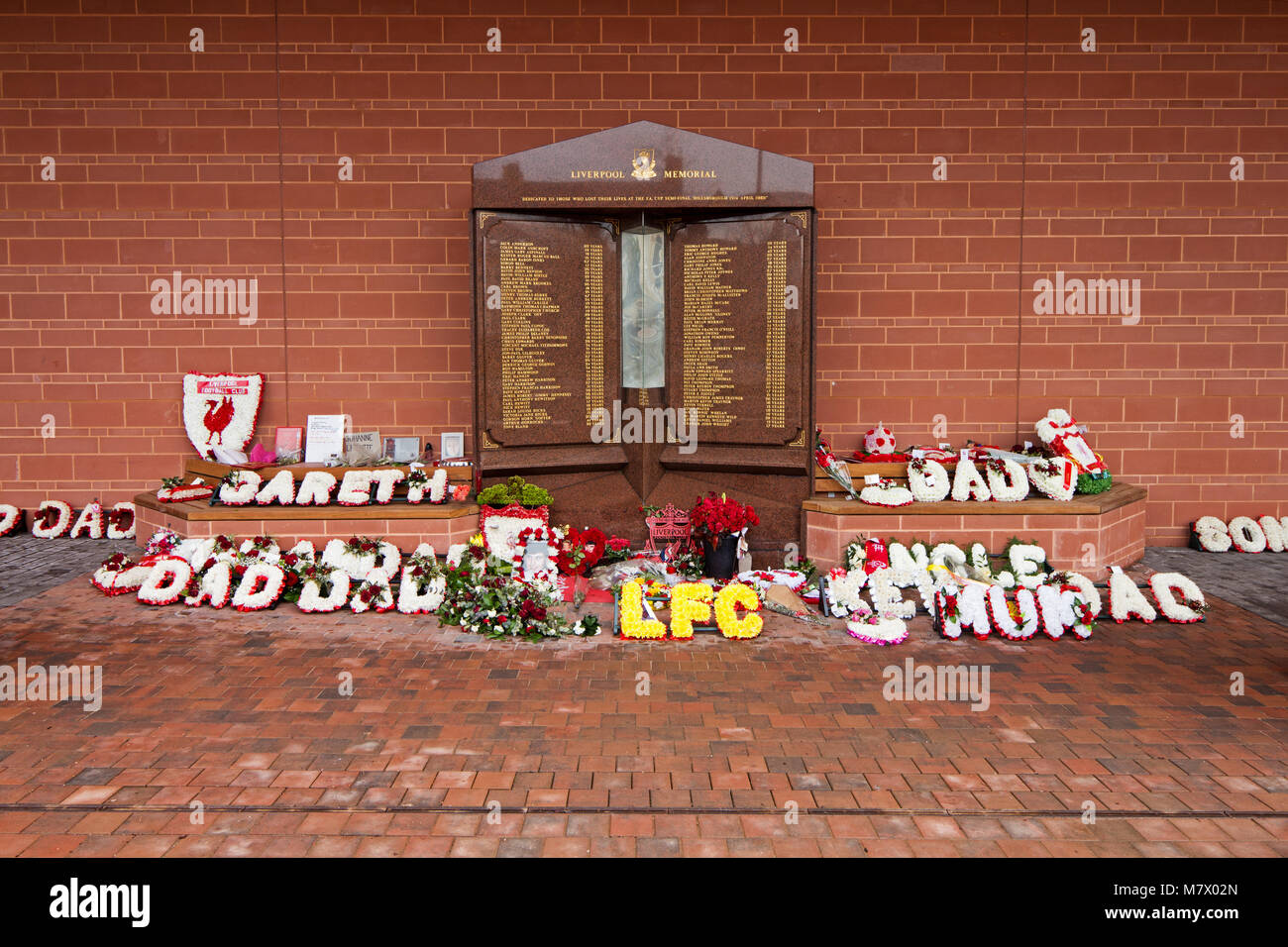 The Hillsborough Memorial at Anfield Liverpool in memory of the 96 people who died in 1989, at it's new position Stock Photo