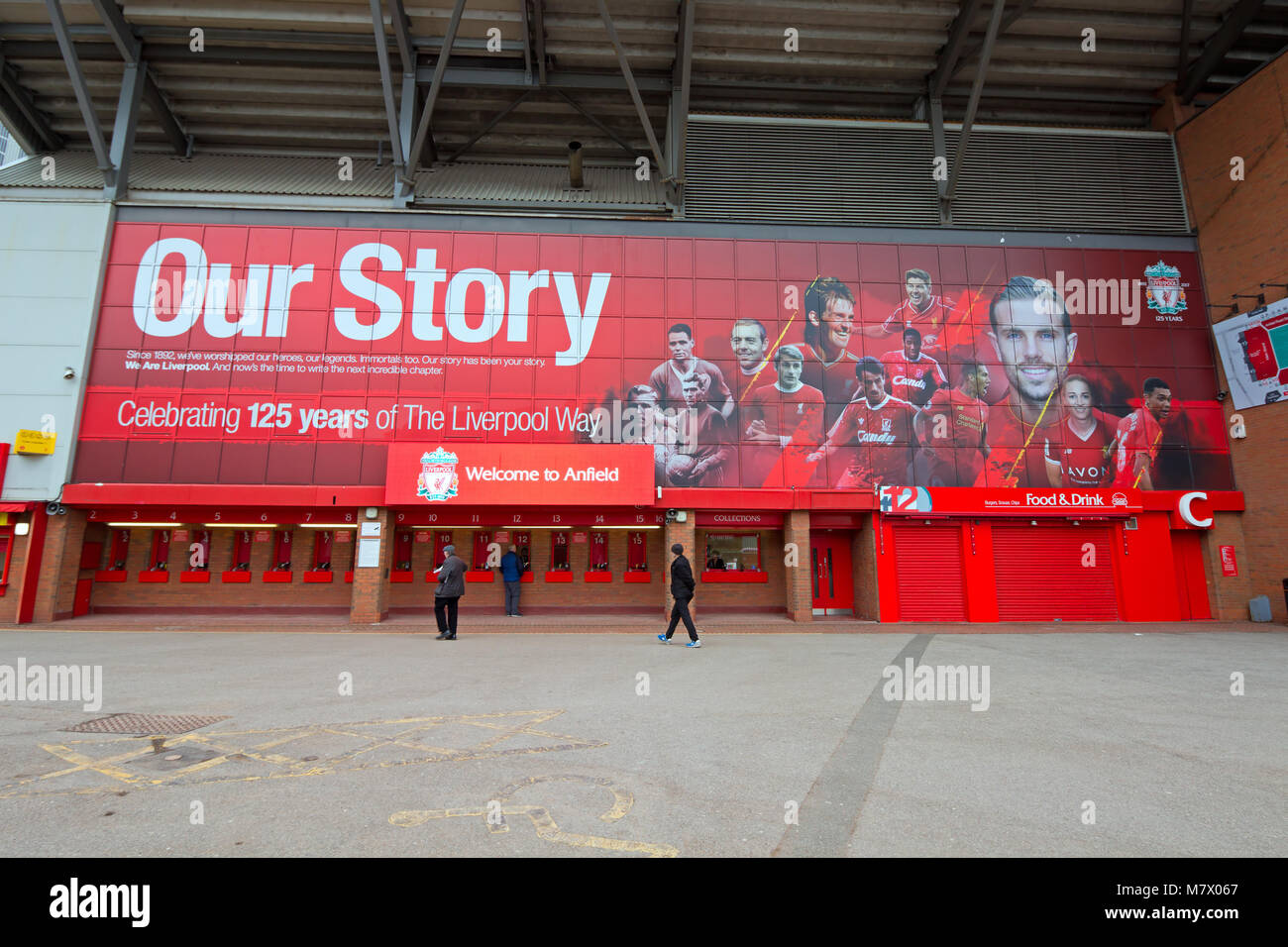 Huge mural at the Kop end of the stadium at Anfield, home of Liverpool Football Club for the 2017/2018 season. - Stock Image