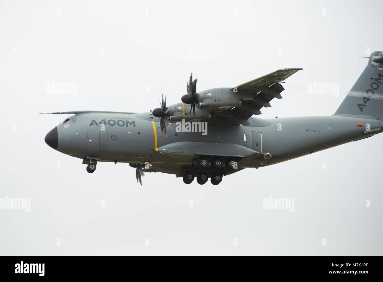 huge airbus a400 at UK airshow with undercarriage - Stock Image
