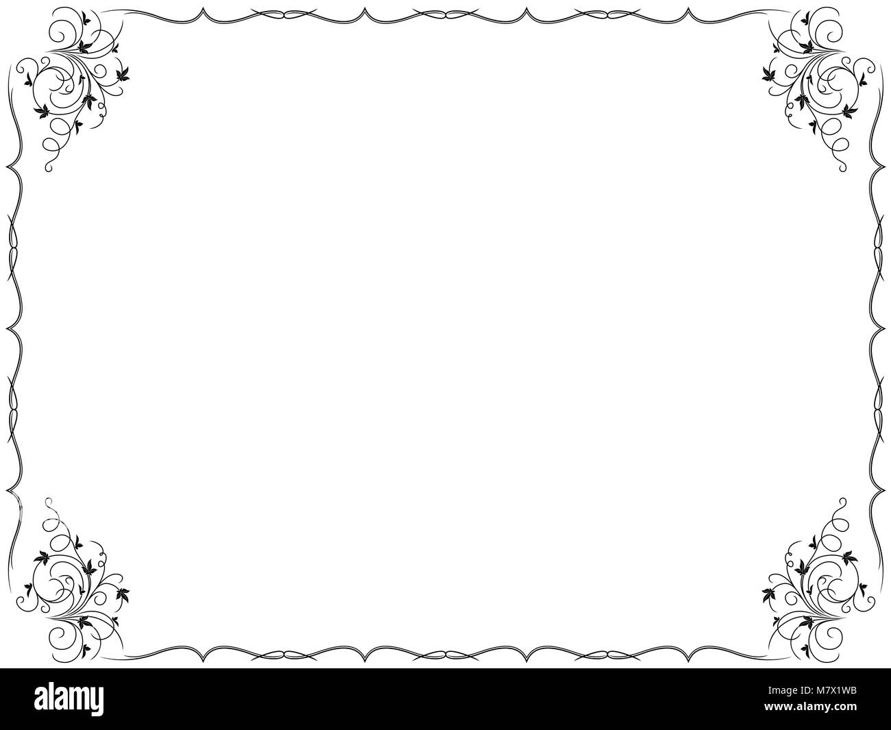 Floral frame background with swirl border design elements, hand ...