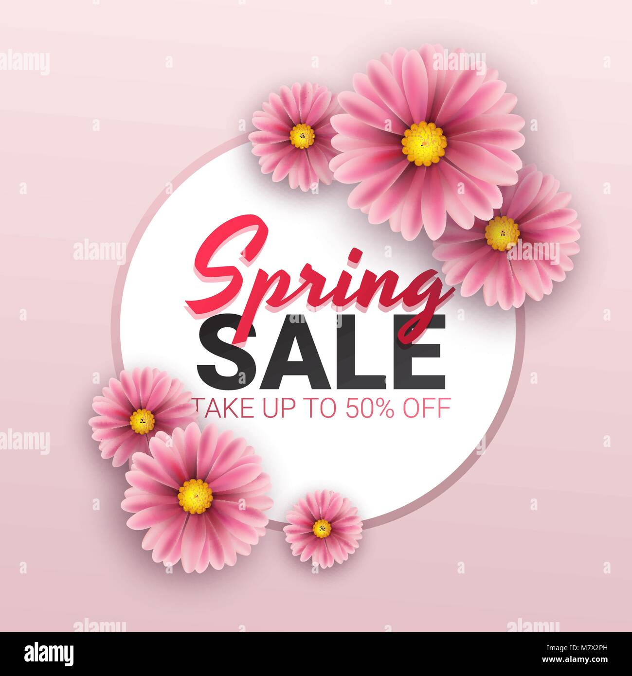 spring sale floral advertizing poster board banner with realistic