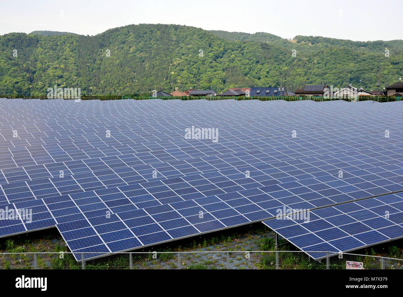 Japan: Aikawa Solar Power Plant in Kanagawa Prefecture - Stock Image