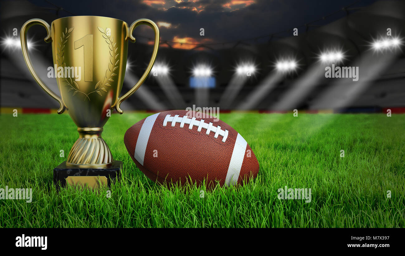 American football arena with ball and trophy cup on green grass illumination at night, 3D rendering - Stock Image