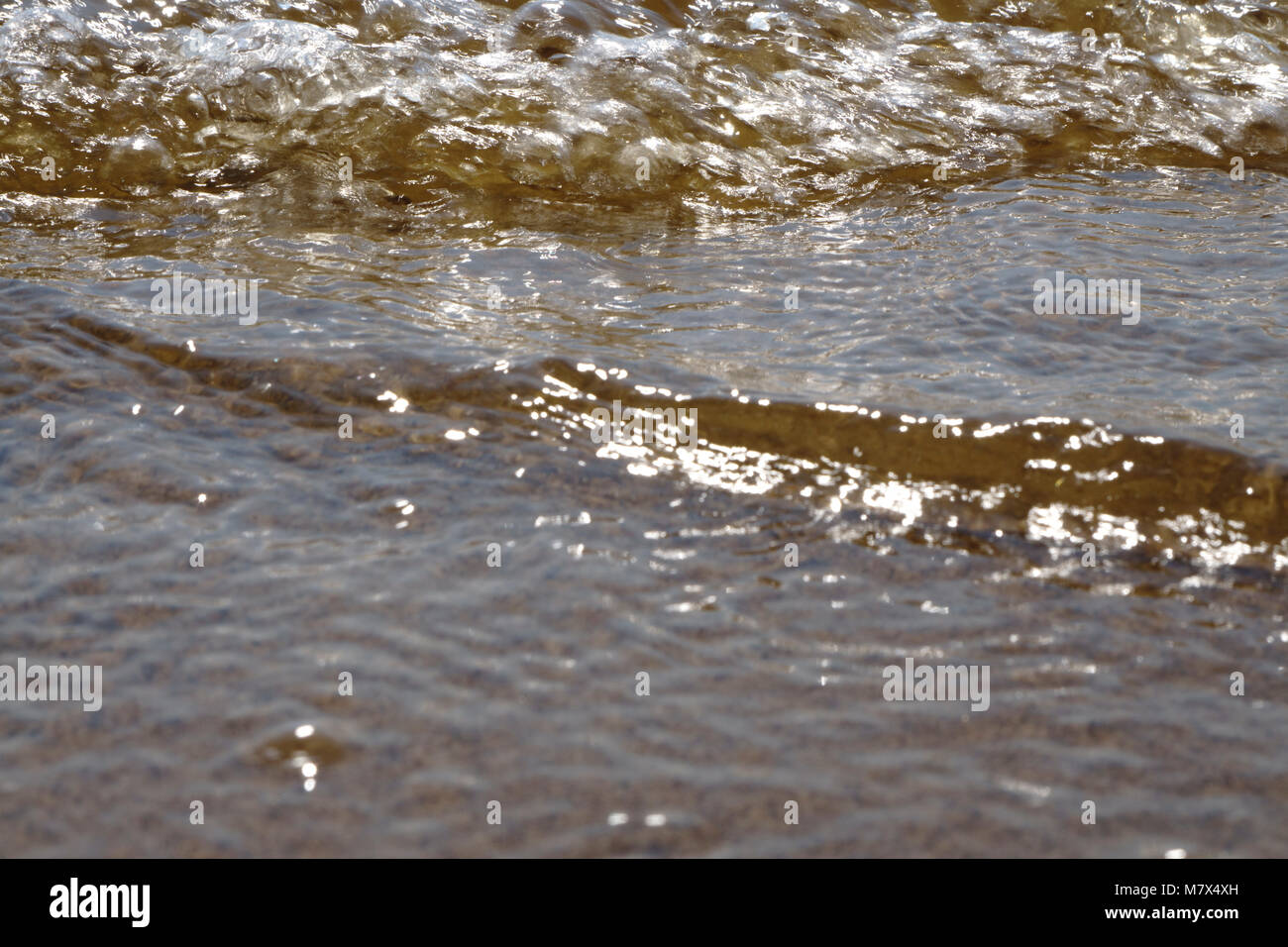 Rippled water and sand on the edge of on the southern shore of Lake Superior. Background texture with space for - Stock Image