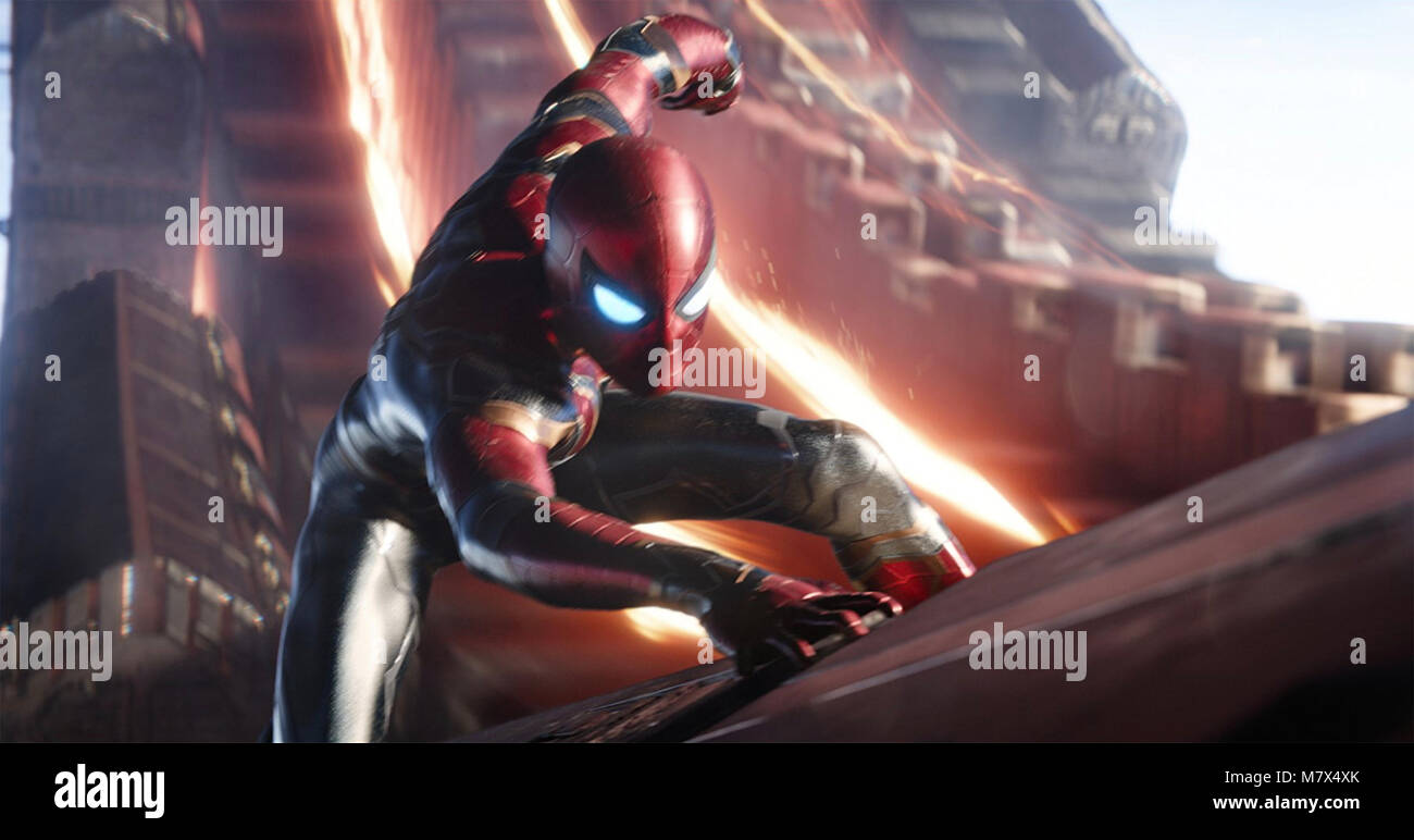 AVENGERS; INFINITY WAR 2018 Marvel Studios film with Tom Holland as Peter Parker/Spider-Man - Stock Image