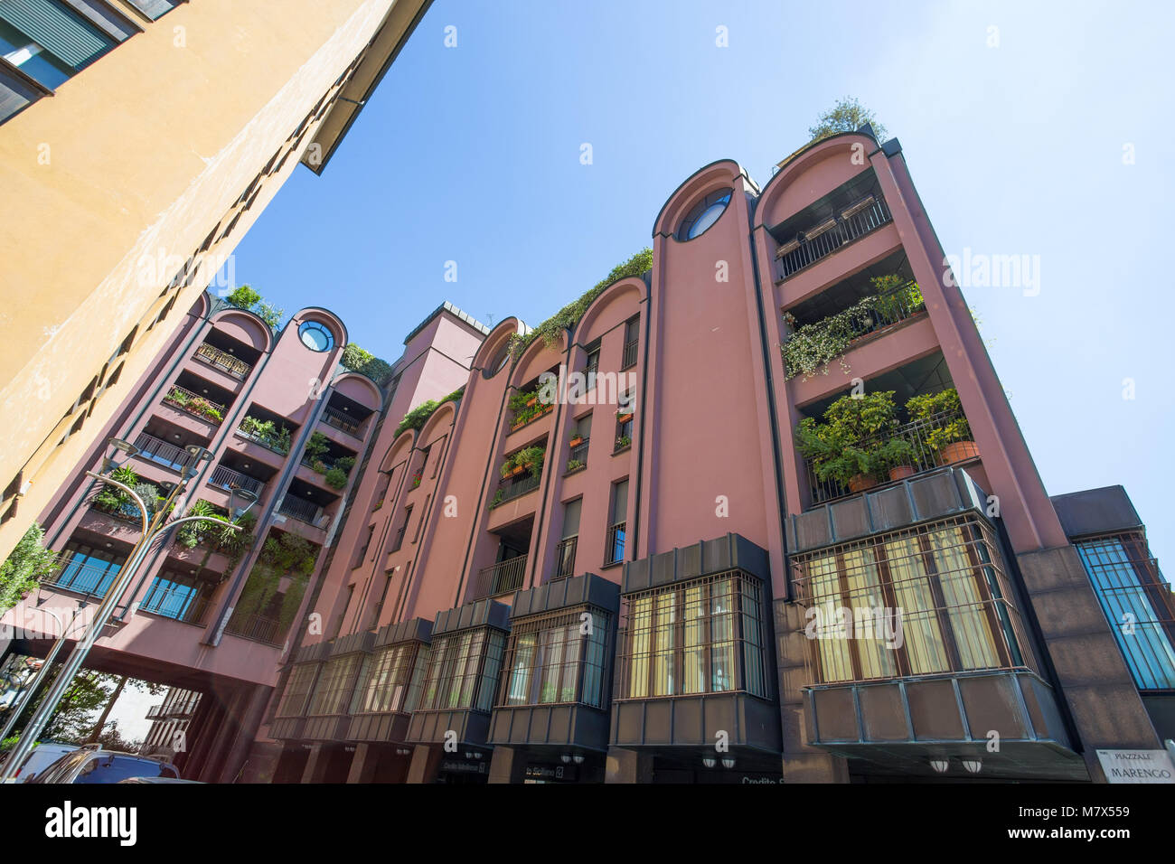 MILAN, ITALY, JUNE 7, 2017 - Modern buildings and offices in Lanza Place, center city of Milan, Italy - Stock Image