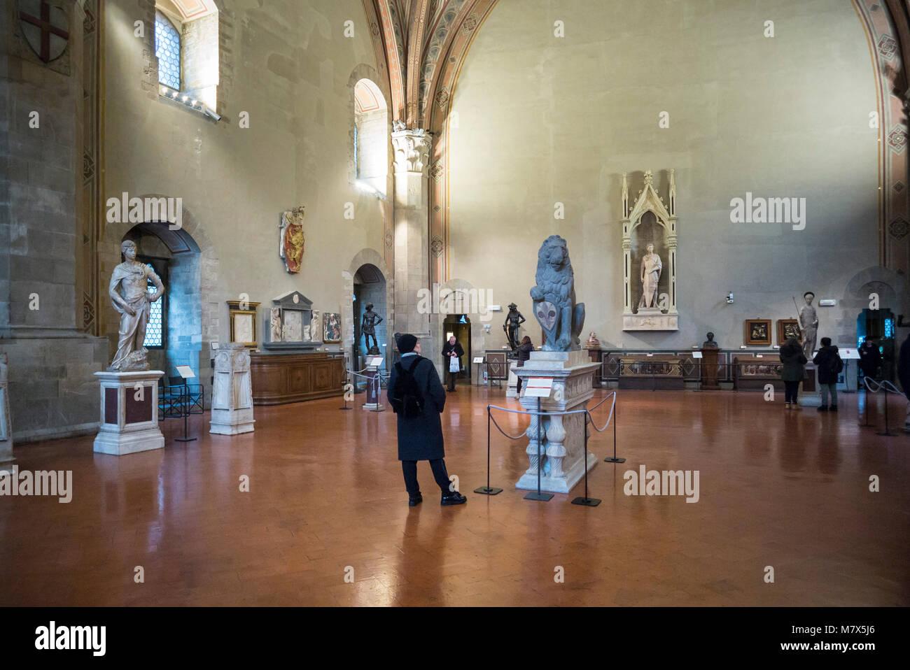 Florence. Italy. Museo Nazionale del Bargello, Great Council Chamber aka Salone di Donatello. Donatello's Marzocco - Stock Image