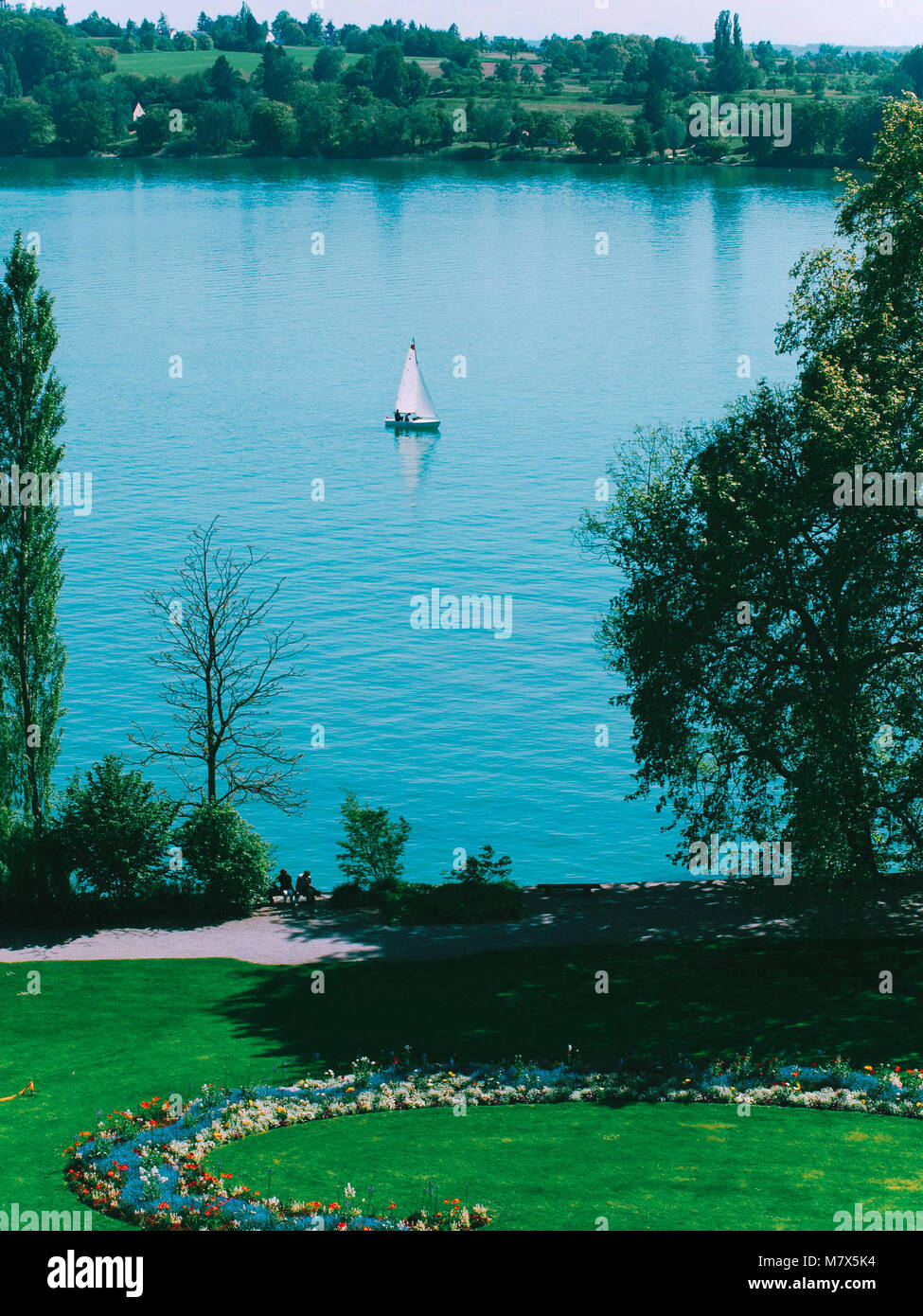 Mainau island sailboat at lake Bodensee, Germany. Stock Photo