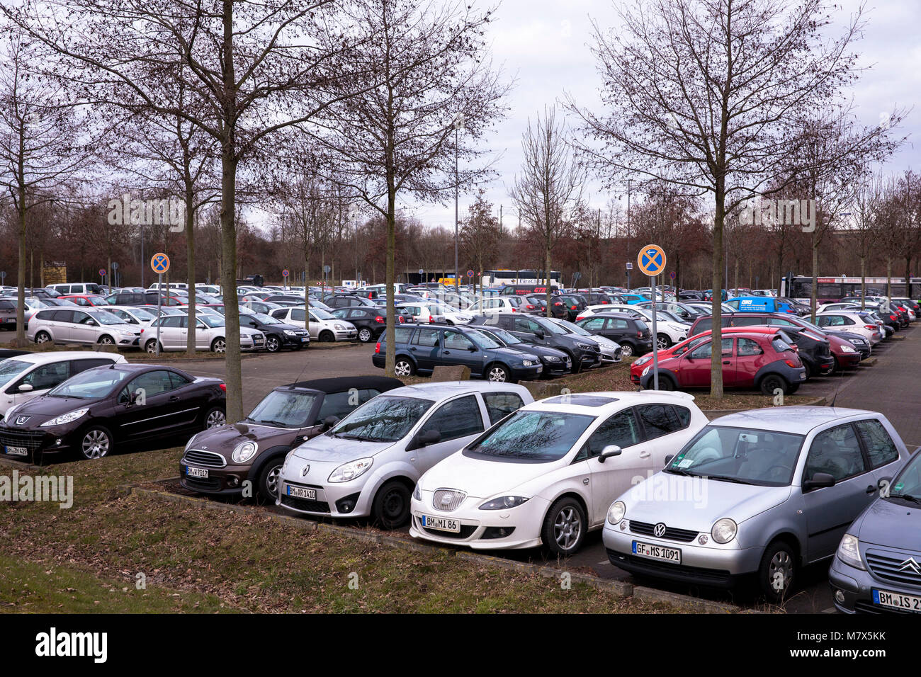 Germany, Cologne, Park and Ride car park Weiden-West at the Aachener Street in the district Weiden.  Deutschland, Stock Photo