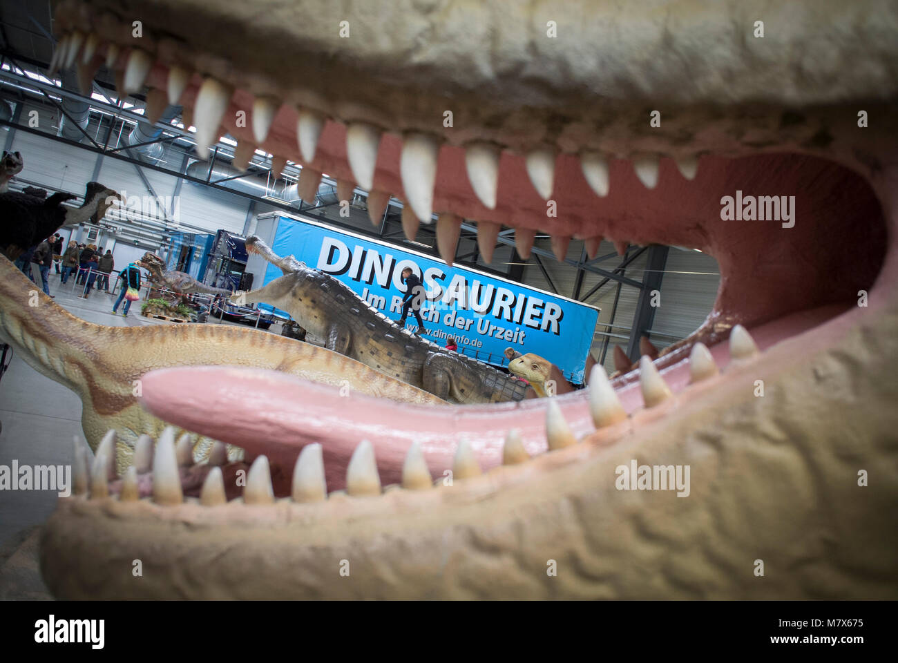 Dinosaurs at an exhibition at Messe Arena, Halle, Saxony-Anhalt, Germany. - Stock Image