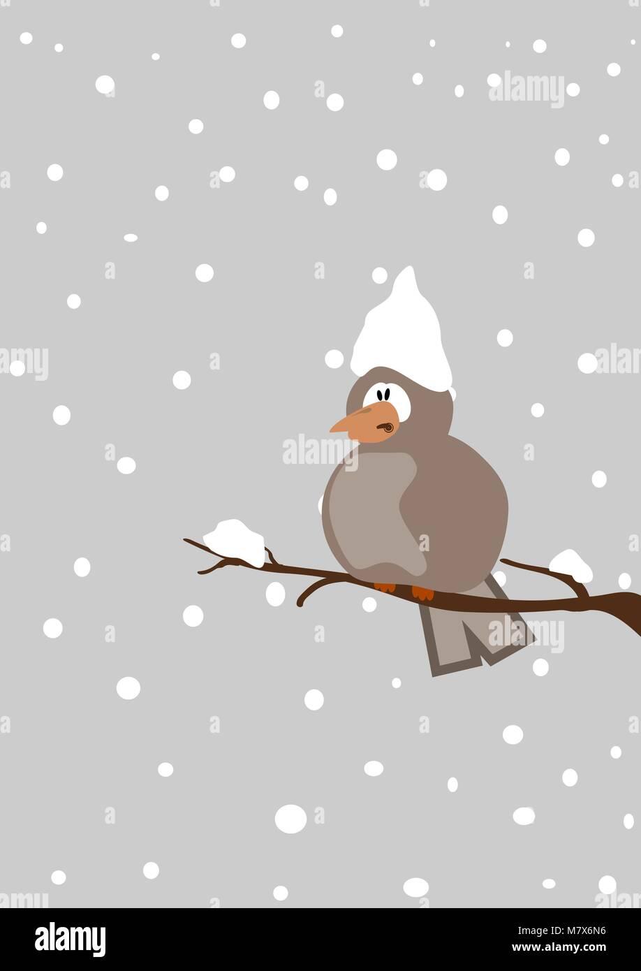 Depressive Bird On A Twig With Snowfall Seasonal Vector Cartoon Stock Vector Image Art Alamy