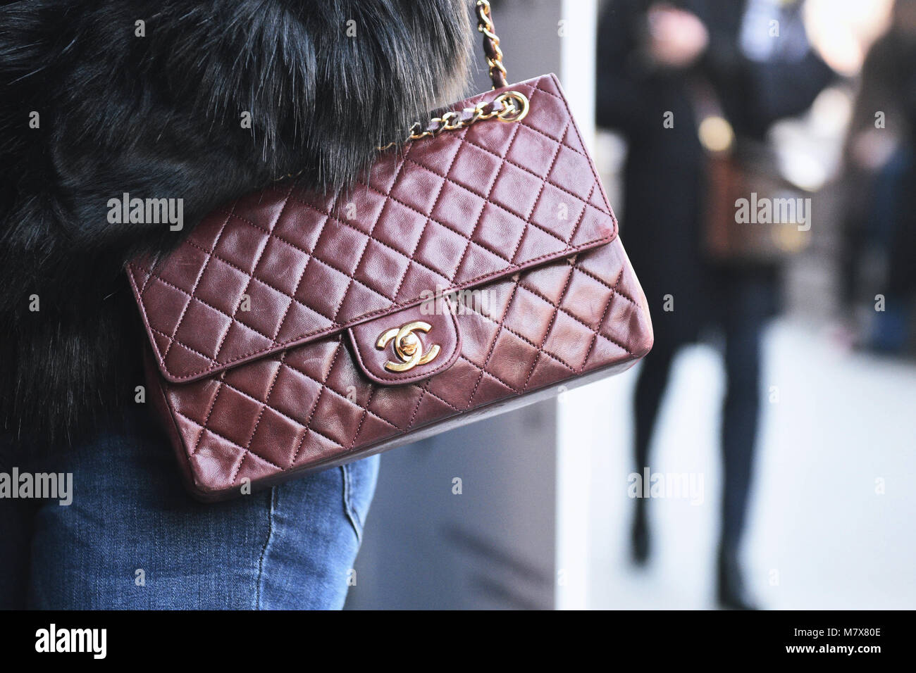 1195c0684fa6 Milan, Italy - February 21, 2018: Chanel bag in detail - fashion street