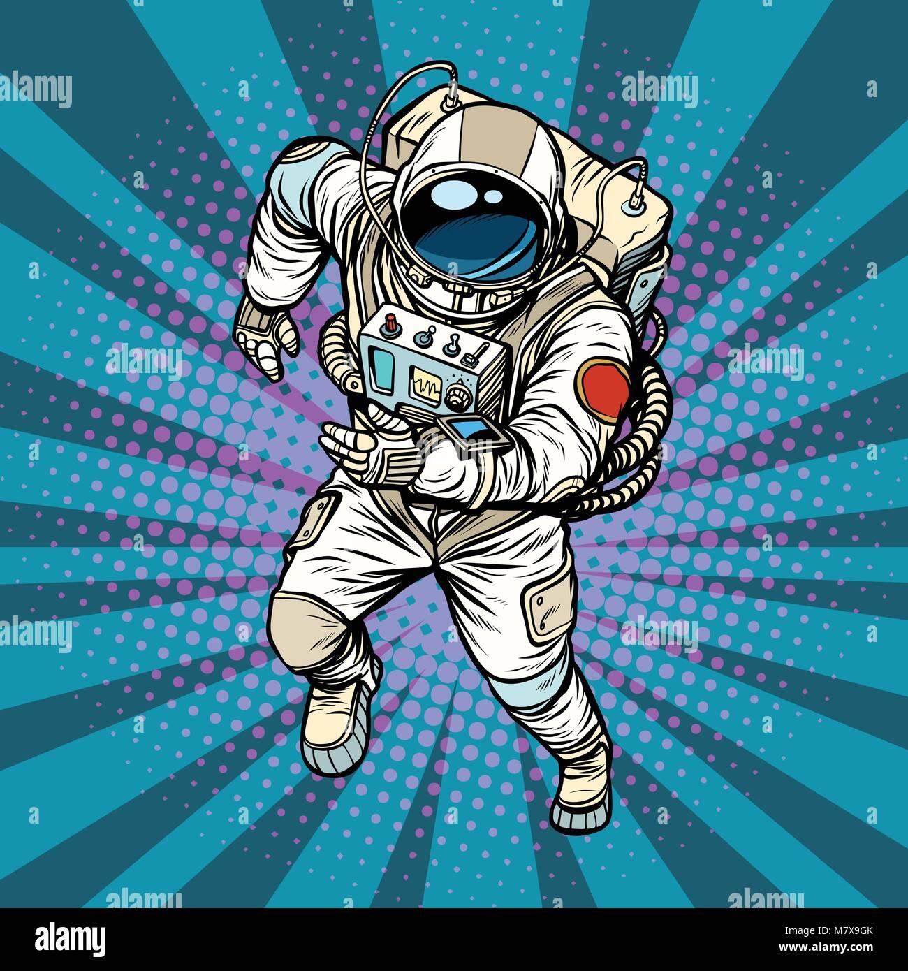 astronaut runs, the hero of space - Stock Vector