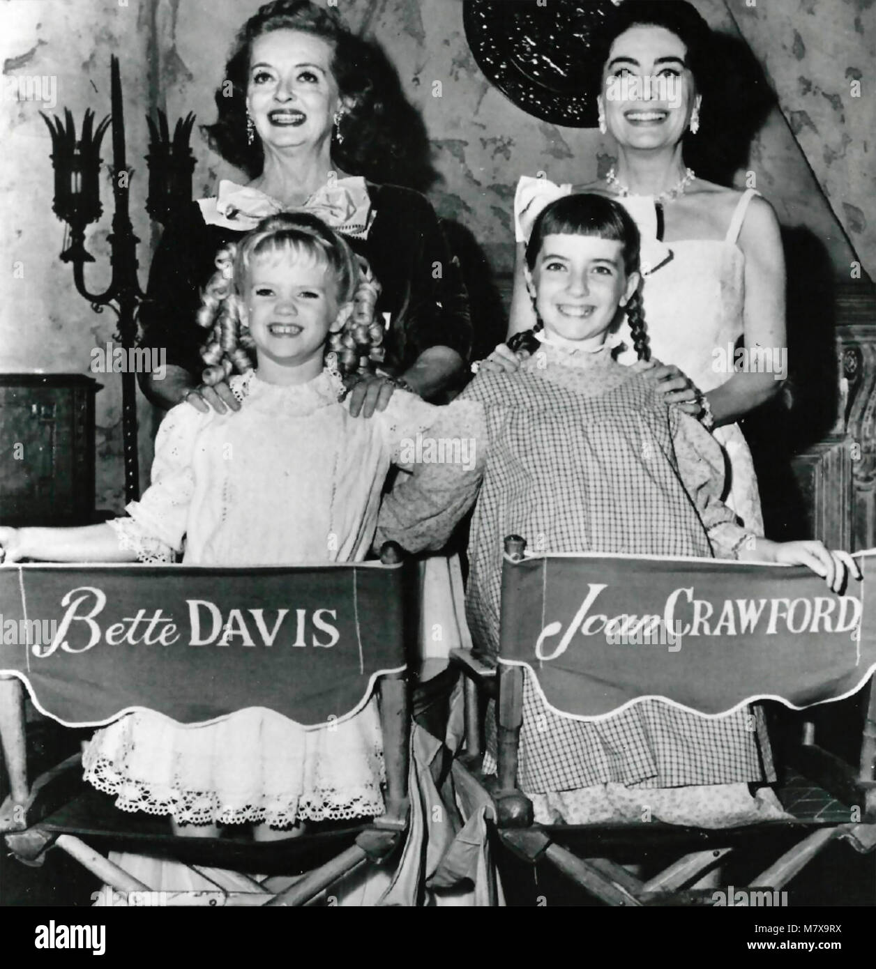 BETTE DAVIS (left) and Joan Crawford with their daughters (need ids) - Stock Image