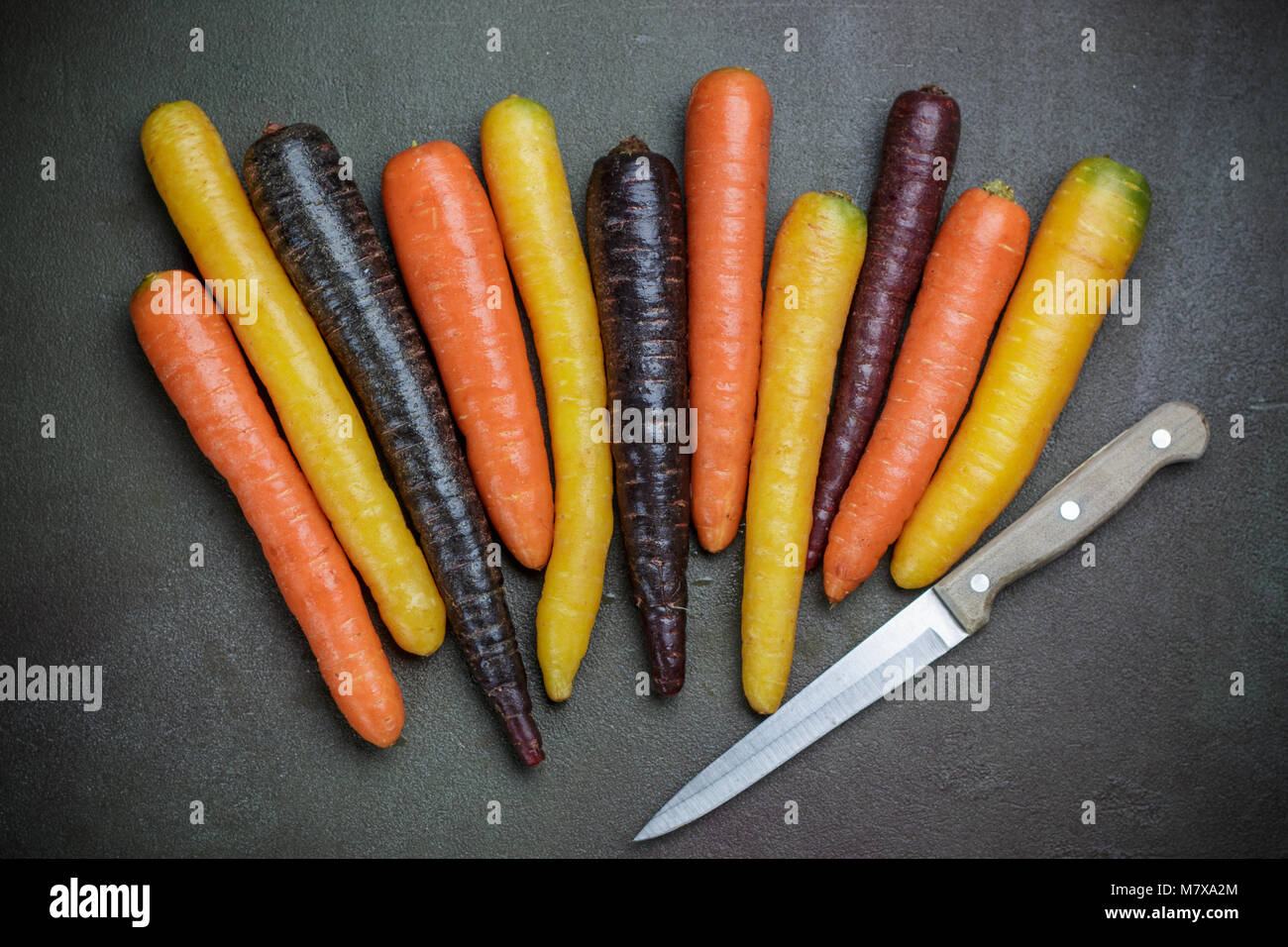 Colorful vegetables. Organic colored yellow, red, orange and purple carrots on the dark stone surface. Rustic style - Stock Image