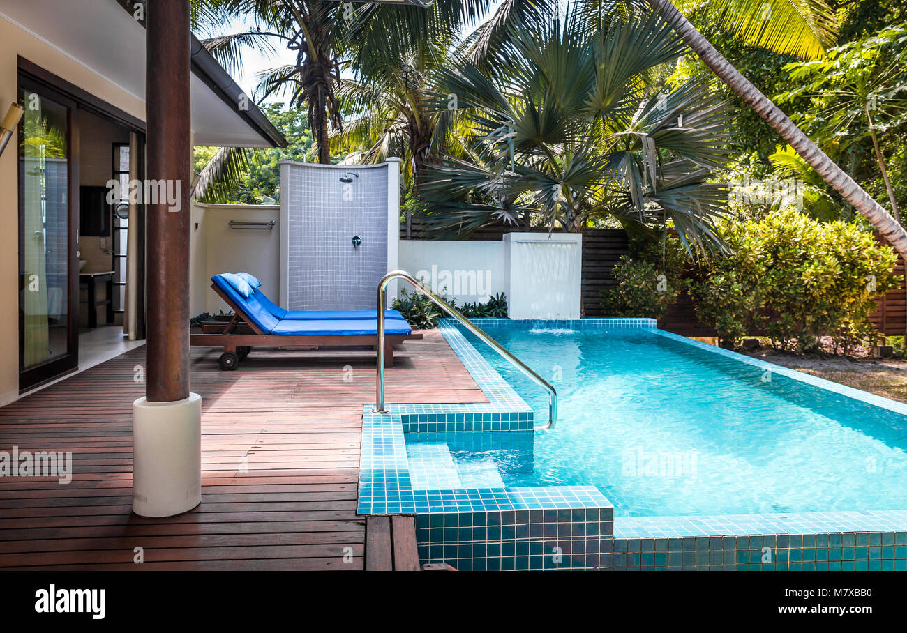 Private Terrace And Swimming Pool Of Luxurious Villa Stock Photo Alamy