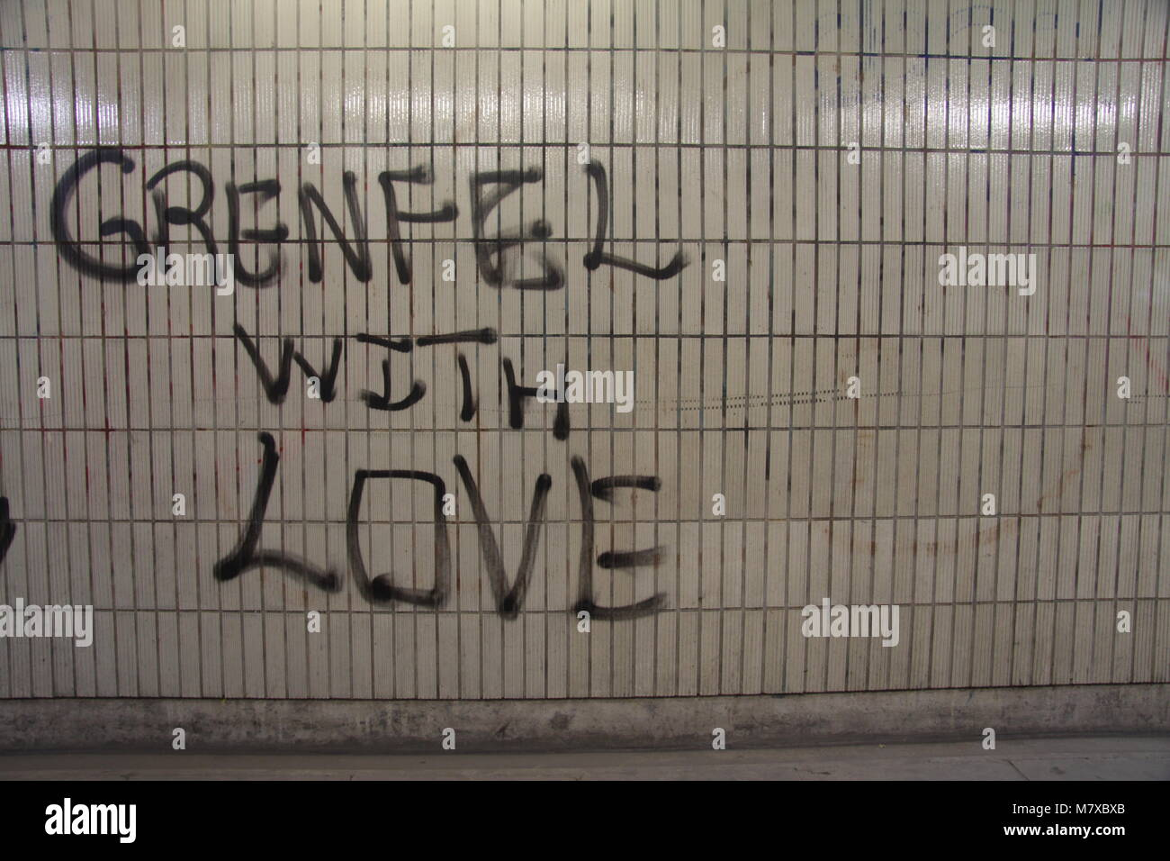 Grenfell Tower Tribute Graffiti - Stock Image