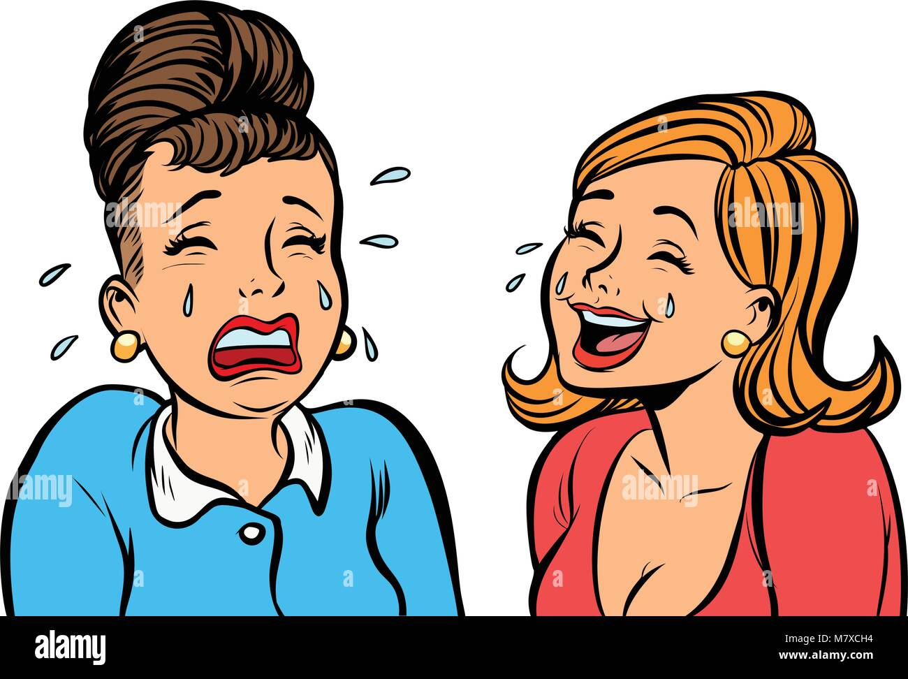 girlfriend women one cries, other laughs isolate on white backgr - Stock Image