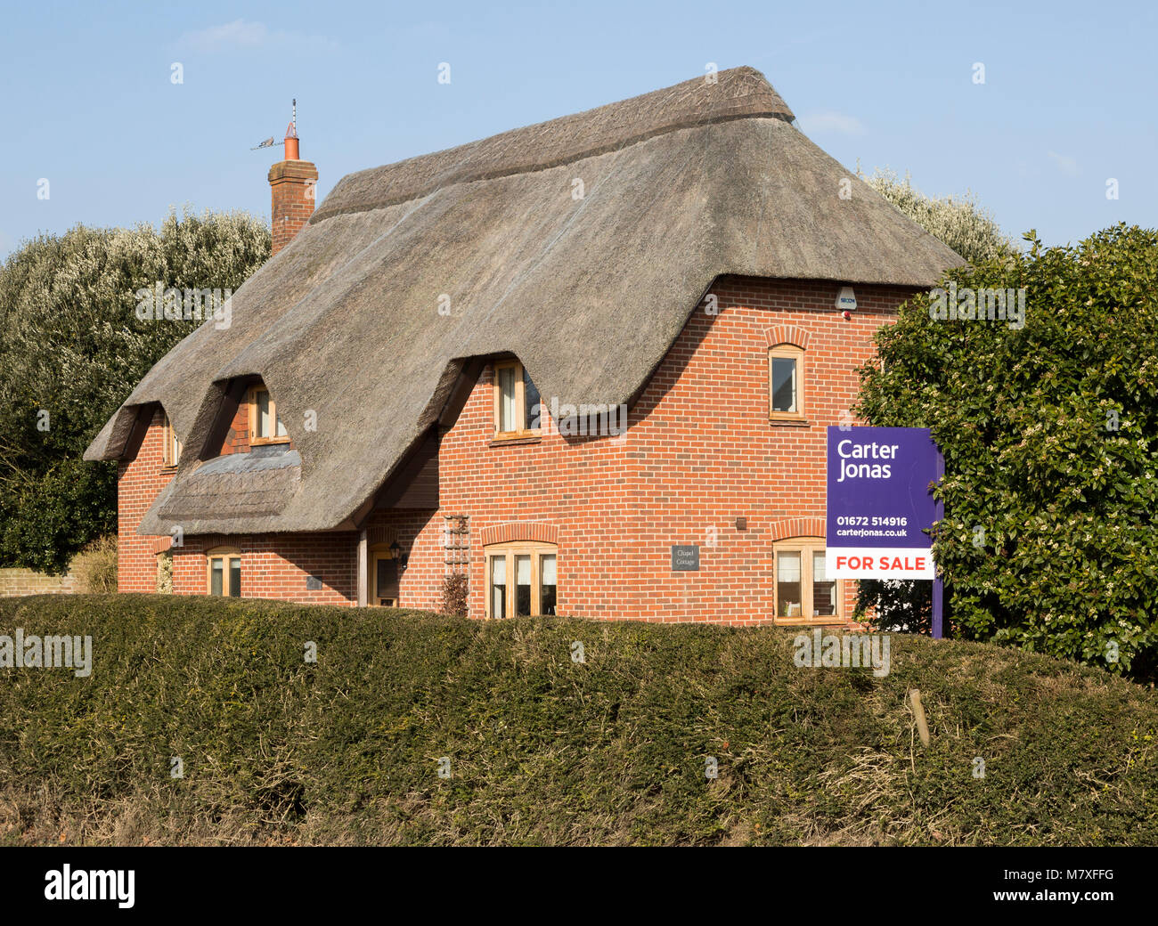 Thatched country cottage for sale with Carter Jonas estate agent sign outside,  Alton Priors, Wiltshire, England, Stock Photo