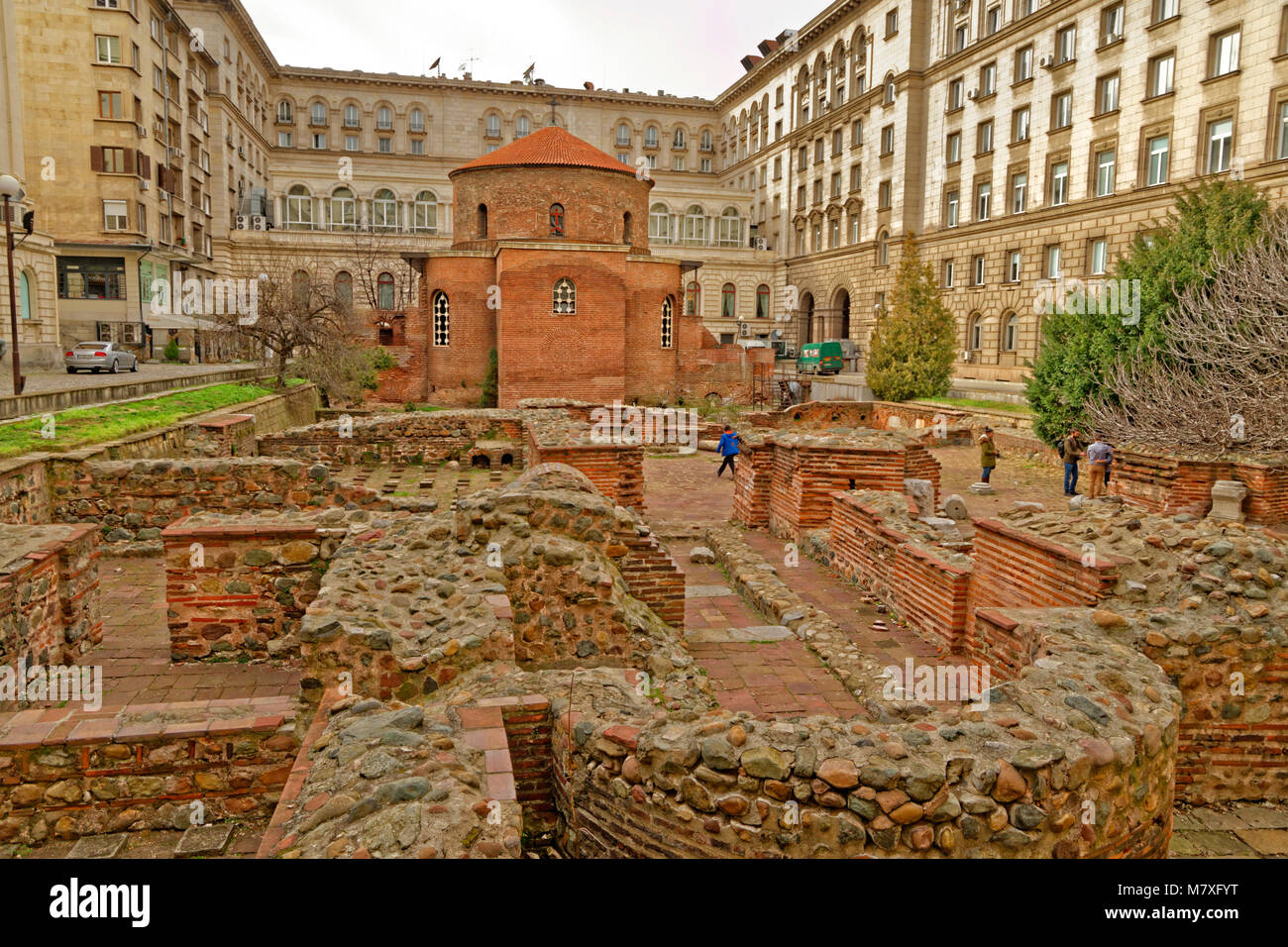 Remains of the Church of St. George Rotunda in Sophia city centre, Bulgaria. - Stock Image