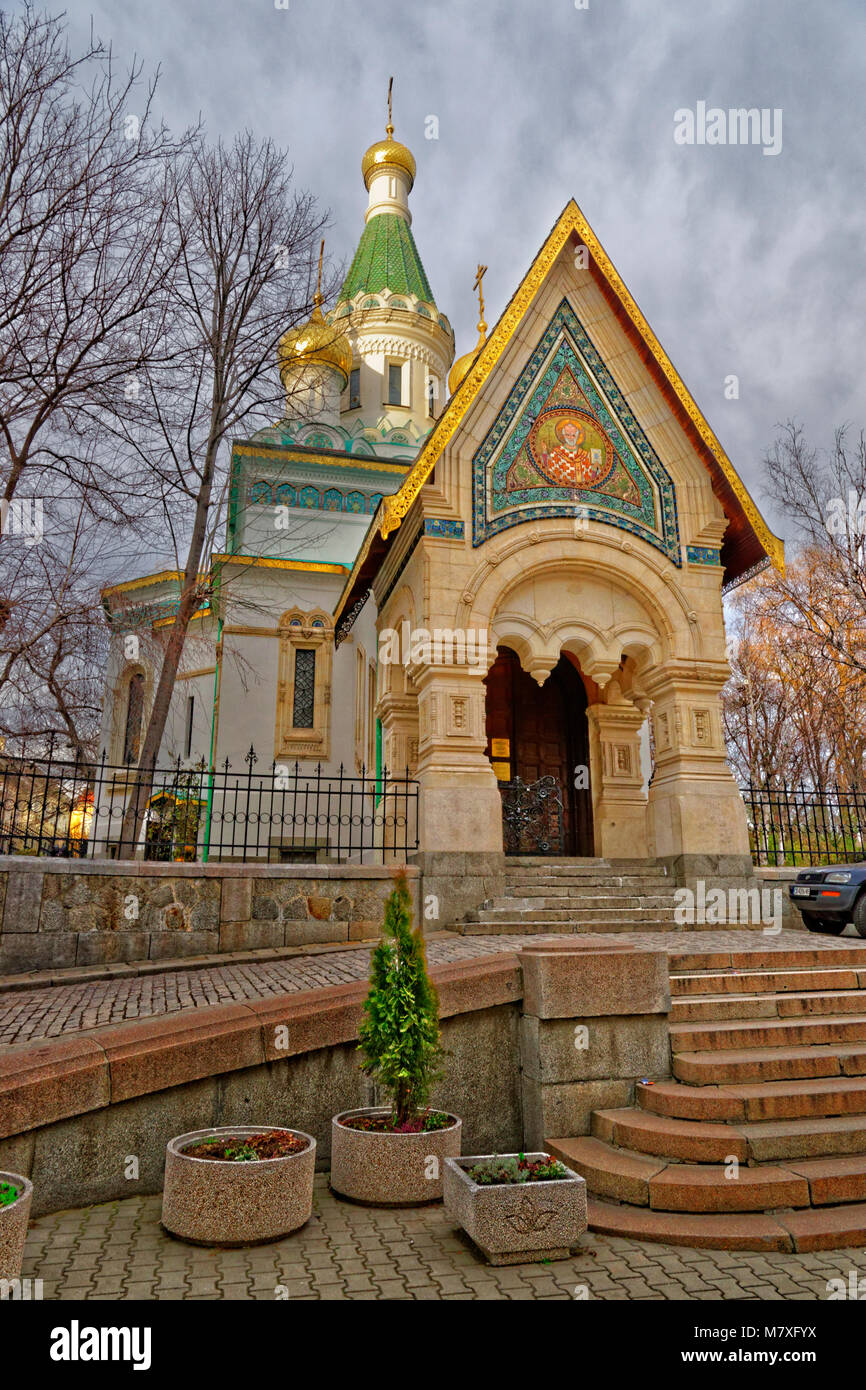 Sveti Nikolay Mirlikiiski Russian Orthodox church in Sofia city centre, Bulgaria. - Stock Image