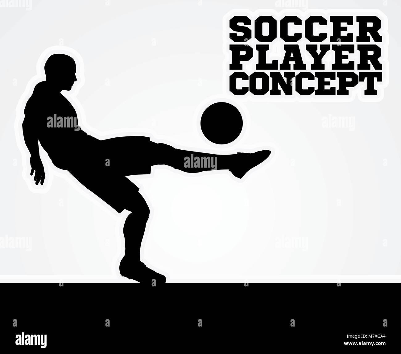 Soccer Football Player Concept Silhouette Stock Vector