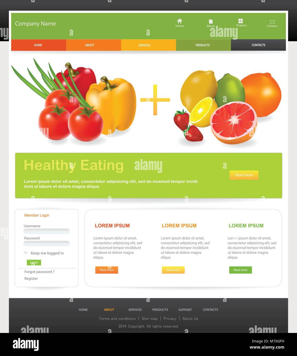 Web design website vector elements diet website template stock web design website vector elements diet website template maxwellsz