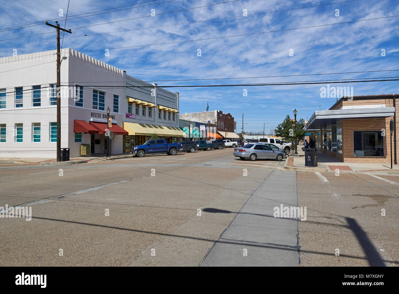 A Street Scene one hot Summers day in downtown Rosenberg in Texas. - Stock Image