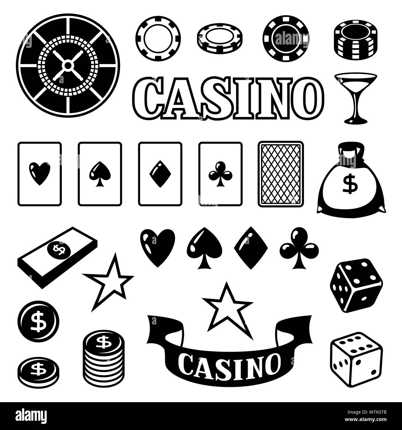 Set of casino gambling game objects and icons - Stock Image