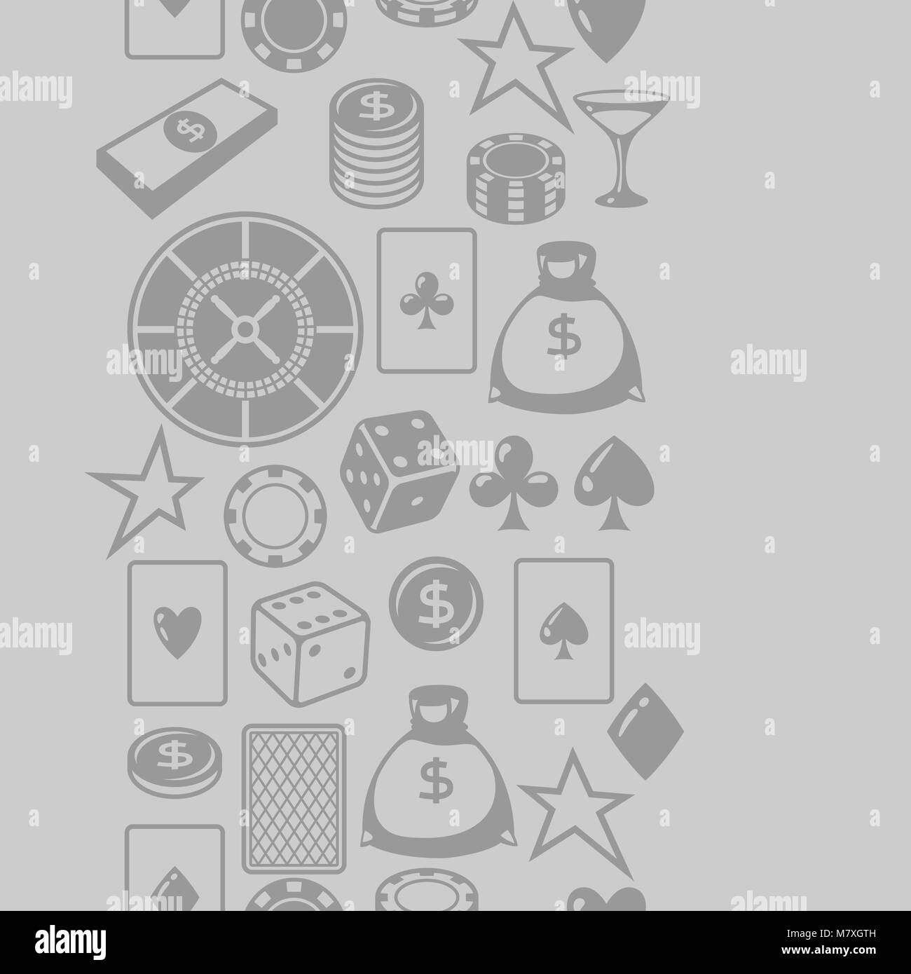 Casino gambling seamless pattern with game objects - Stock Image