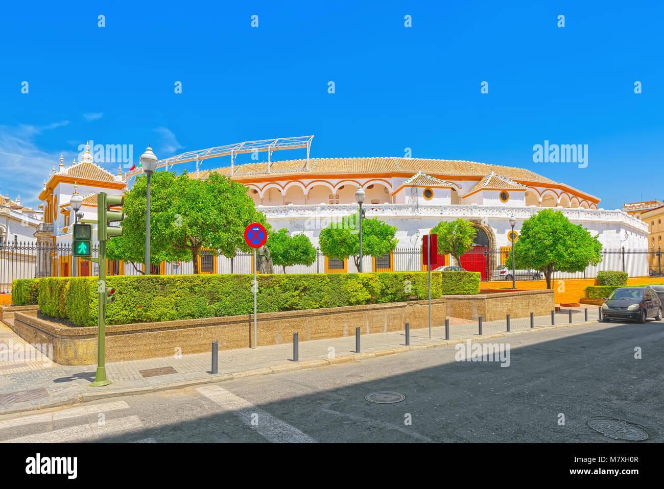 Outdoor view of Arena on of Square of bulls Royal Maestranza of Cavalry in Seville.(Plaza de toros de la Real Maestranza - Stock Image