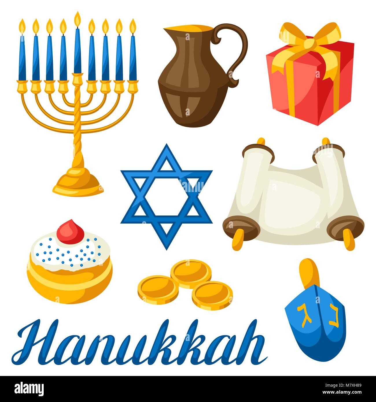 Set of Jewish Hanukkah celebration objects and icons - Stock Vector