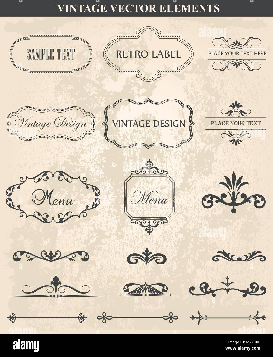 Decorative Vintage Set Of Calligraphic Design Elements Frames Borders Floral Ornaments Page Decoration Abstract Frame In Various